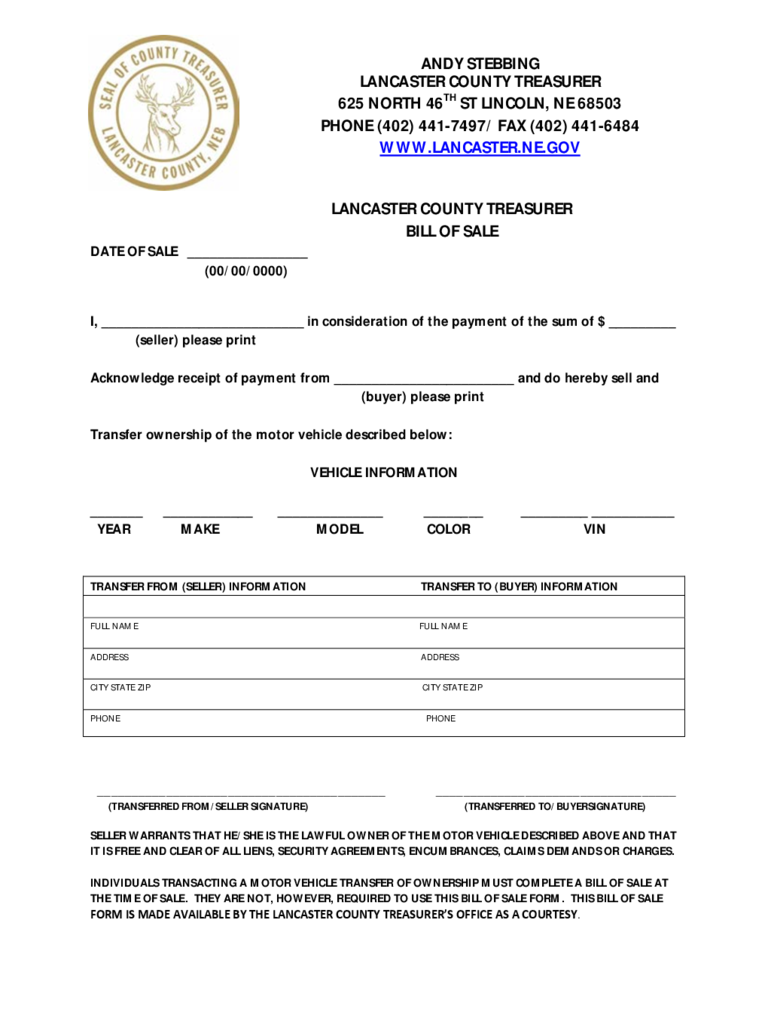 Nebraska Bill Of Sale Form Free Templates In Pdf Word