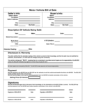 Motor Vehicle Bill of Sale Form Free Download