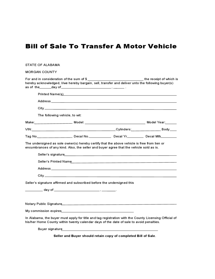 Bill of sale to transfer a motor vehicle alabama free for Free motor vehicle bill of sale