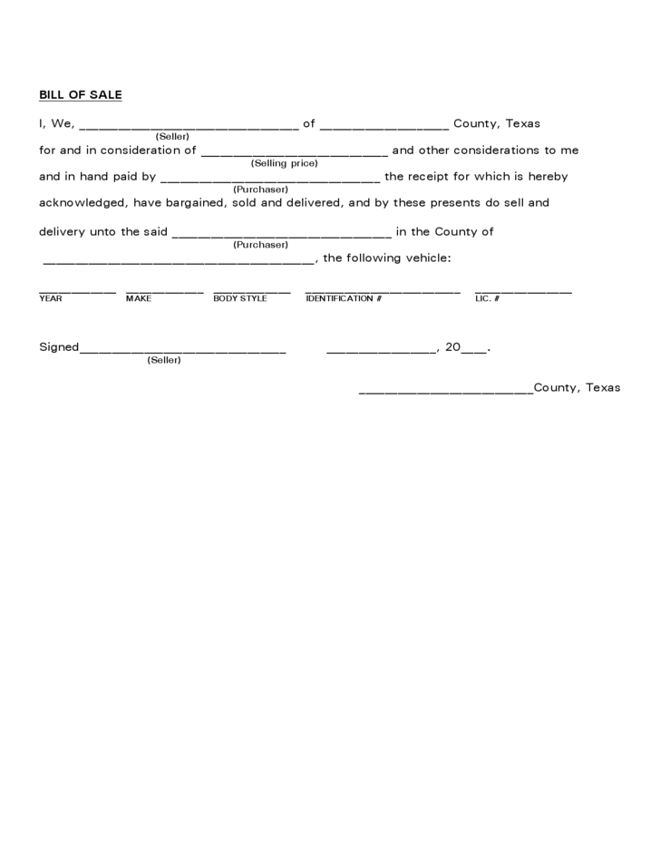 Vehicle Bill of Sale Form - Texas Free Download
