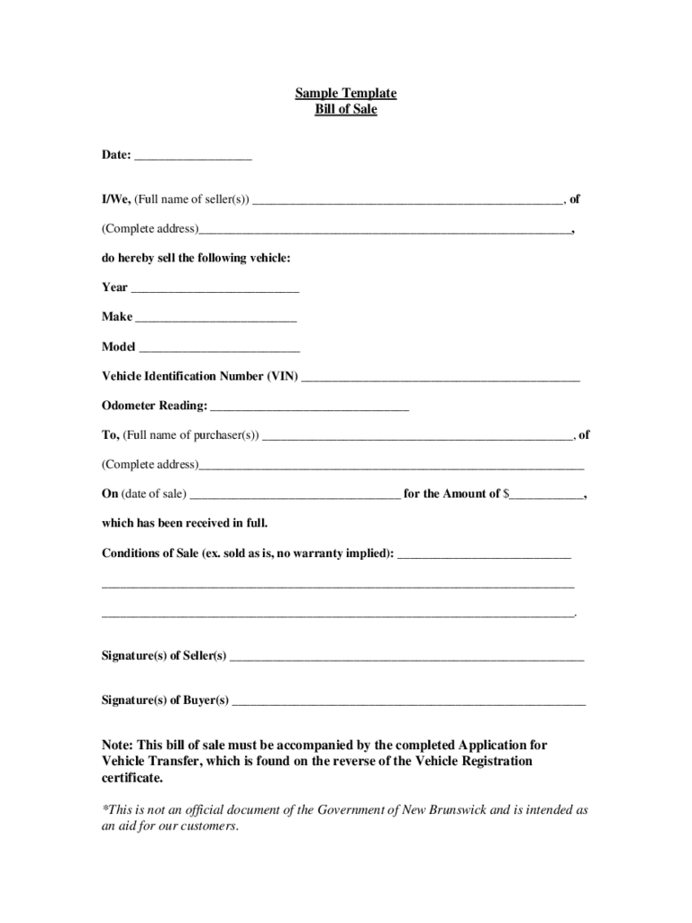 new brunswick bill of sale form free templates in pdf word excel