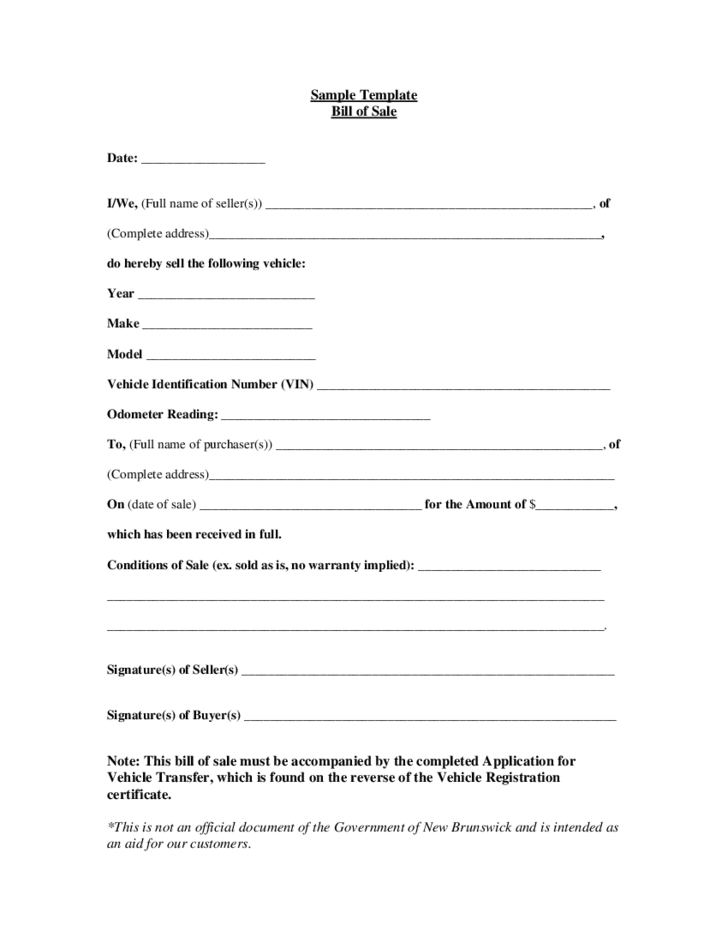 Vehicle Bill Of Sale Form New Brunswick Free Download