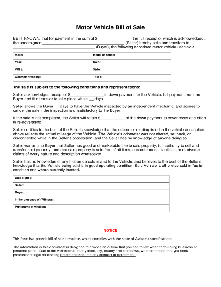 Bill of sale for motor vehicle free download for Motor vehicle bill of sale form free