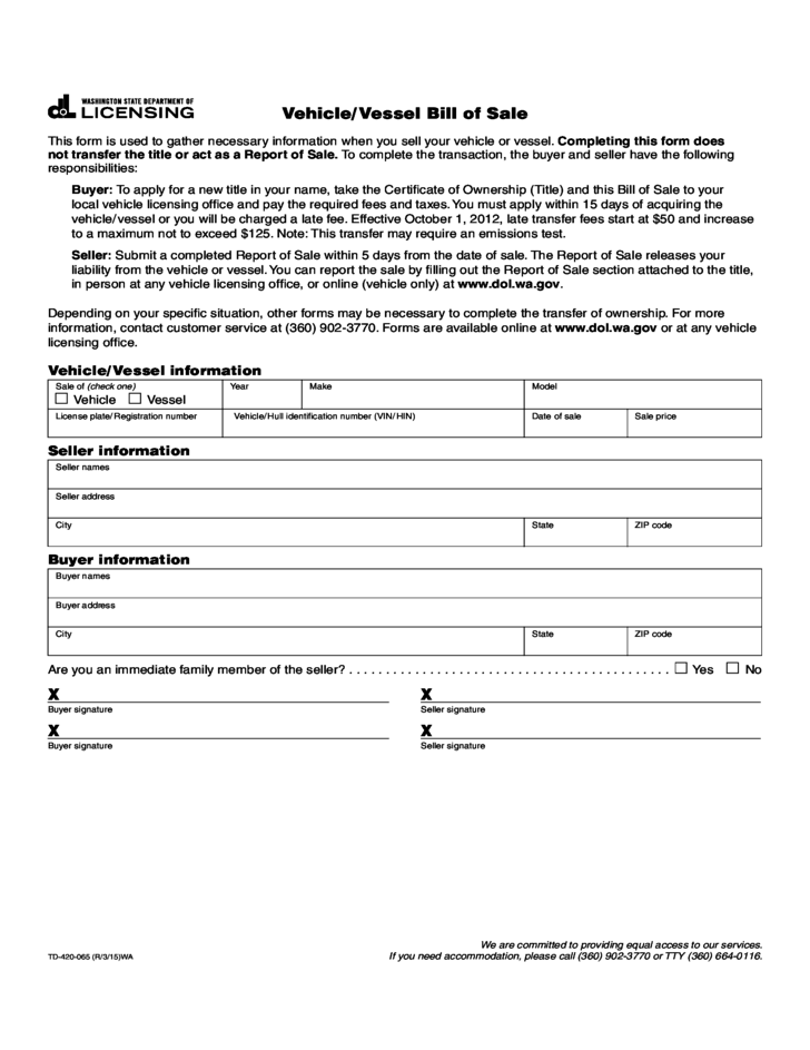 vehicle bill of sale wa Vehicle Bill of Sale Form - Washington Free Download