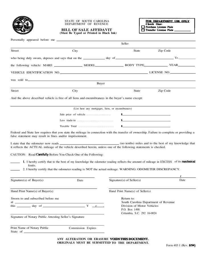 Bill of Sale Affidavit - South Carolina Free Download
