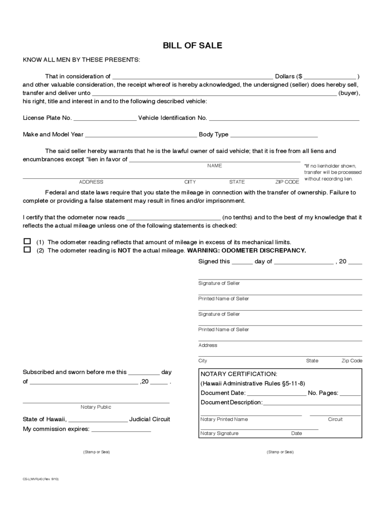 Vehicle Bill of Sale Form - Hawaii