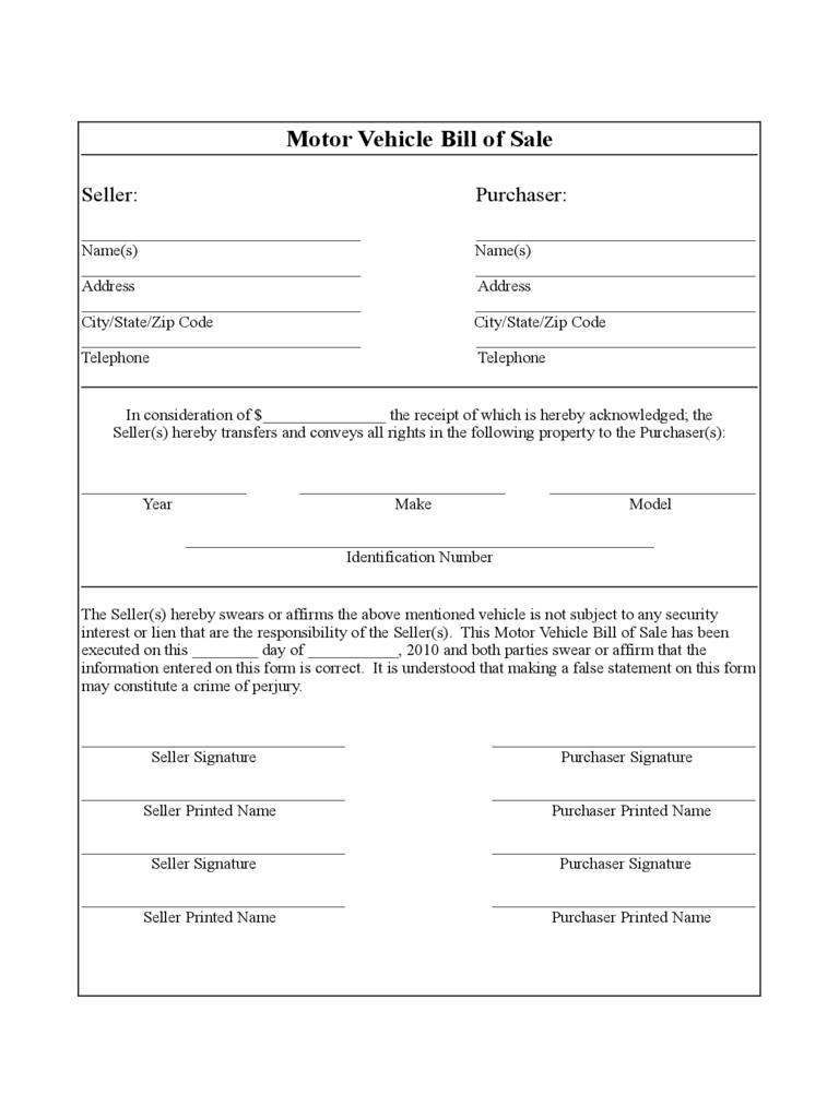 Vehicle bill of sale form 86 free templates in pdf word for Maryland motor vehicle bill of sale form