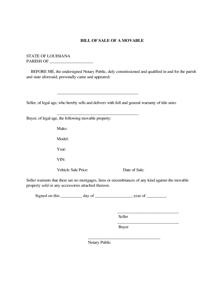 Bill of Sale of a Movable Property of Vehicle - Louisiana