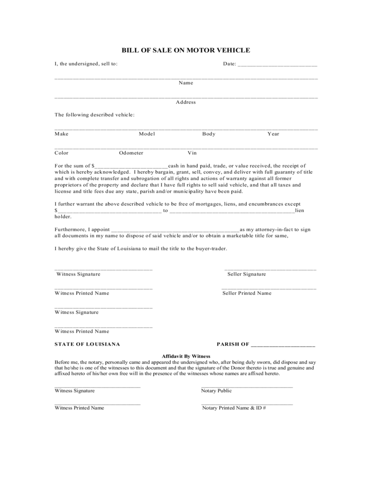 Bill of sale on motor vehicle louisiana free download for Free motor vehicle bill of sale