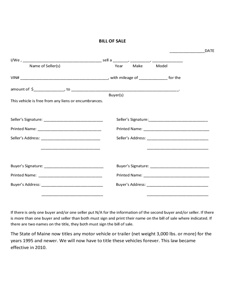 Maine Bill Of Sale Form Free Templates In Pdf Word Excel To Print