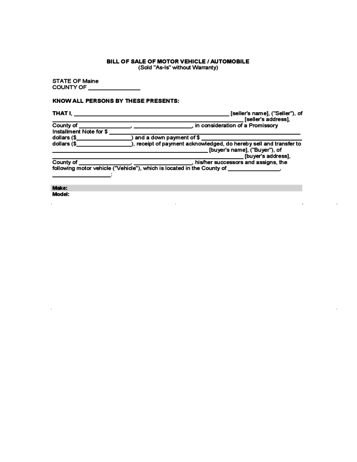 Bill of sale of motor vehicle or automobile maine free for State of maine motor vehicle bill of sale