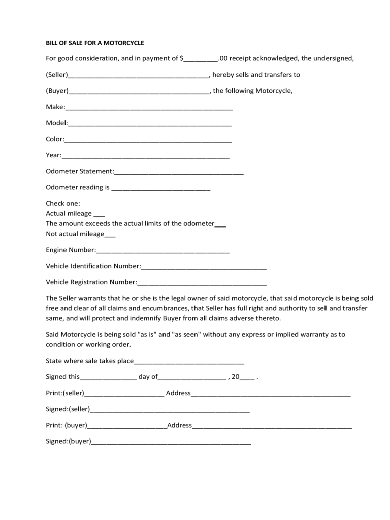 Bill of Sale Form - 183 Free Templates in PDF, Word, Excel Download