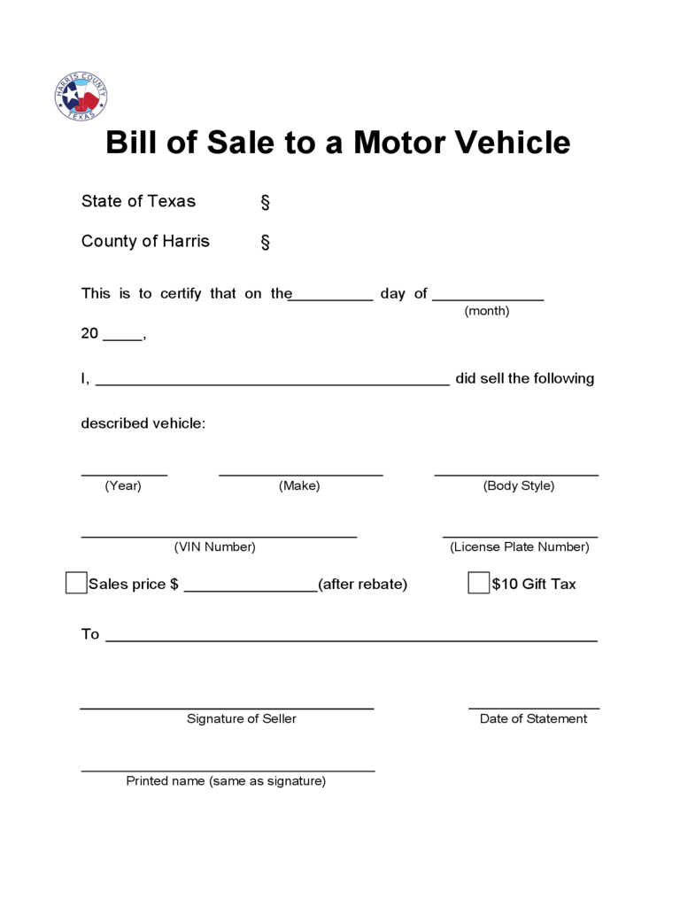 Texas Bill Of Sale Form Free Templates In Pdf Word