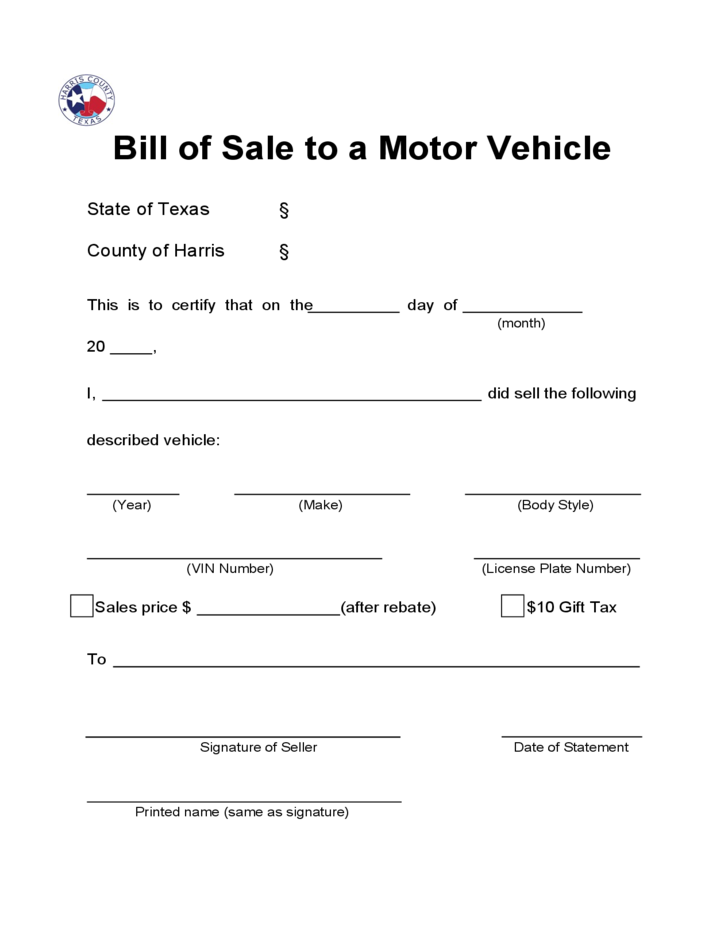 Bill of Sale to a Motor Vehicle - Texas Free Download