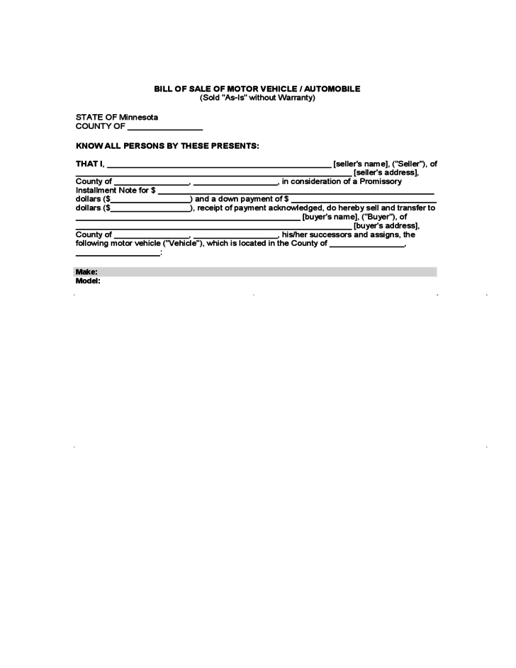 bill of sale of motor vehicle or automobile minnesota free download