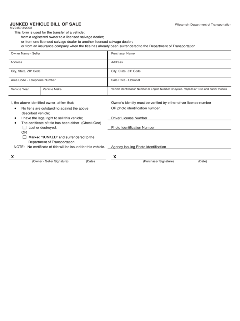 Junked Vehicle Bill of Sale Form - Wisconsin