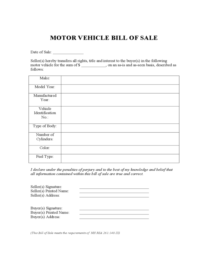 Motor Vehicle Bill of Sale Form - New Hampshire Free Download