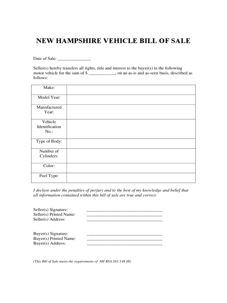 new hampshire bill of sale form