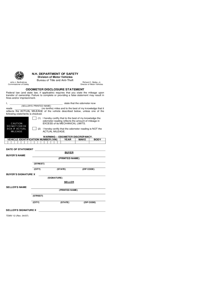 Vehicle bill of sale form new hampshire free download for Nh motor vehicle bill of sale template