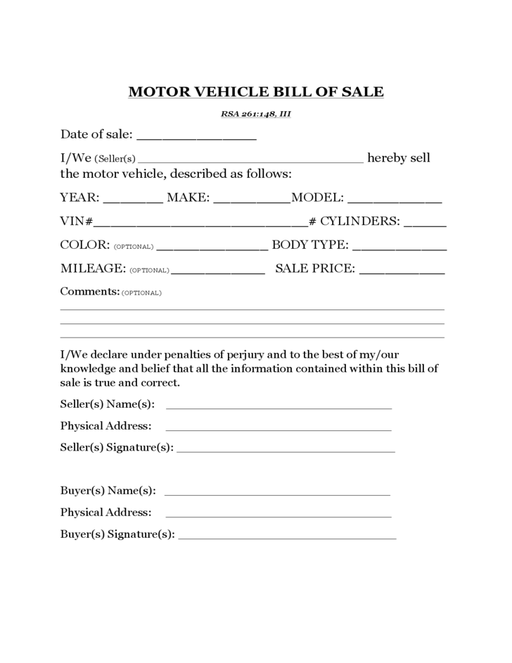 motor vehicle bill of sale template new hampshire free download
