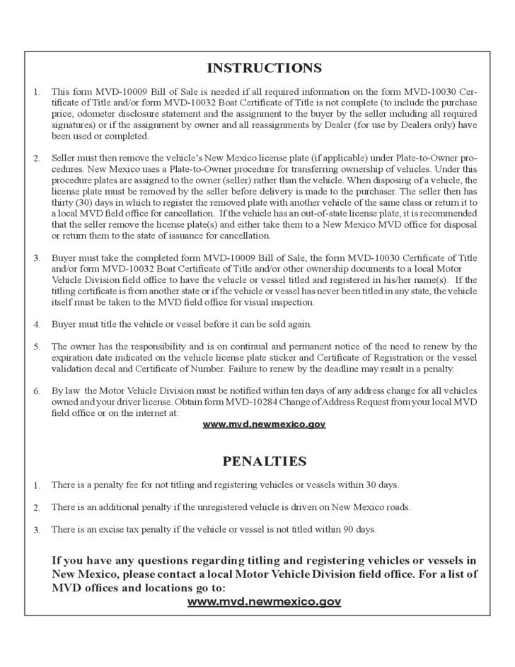 Vehicle or vessel bill of sale form new mexico free download for New mexico motor vehicle bill of sale