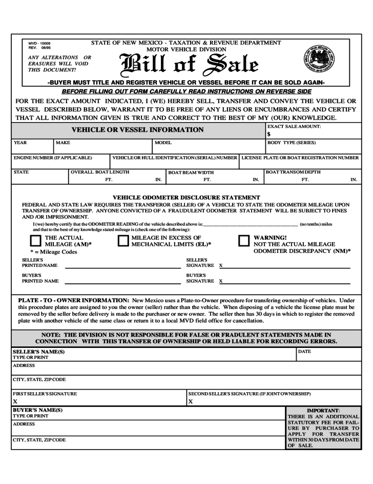 Vehicle Or Vessel Bill Of Sale Sample Form New Mexico Free Download