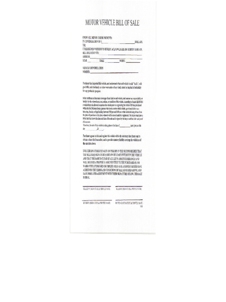 Motor Vehicle Bill of Sale Form - Colorado