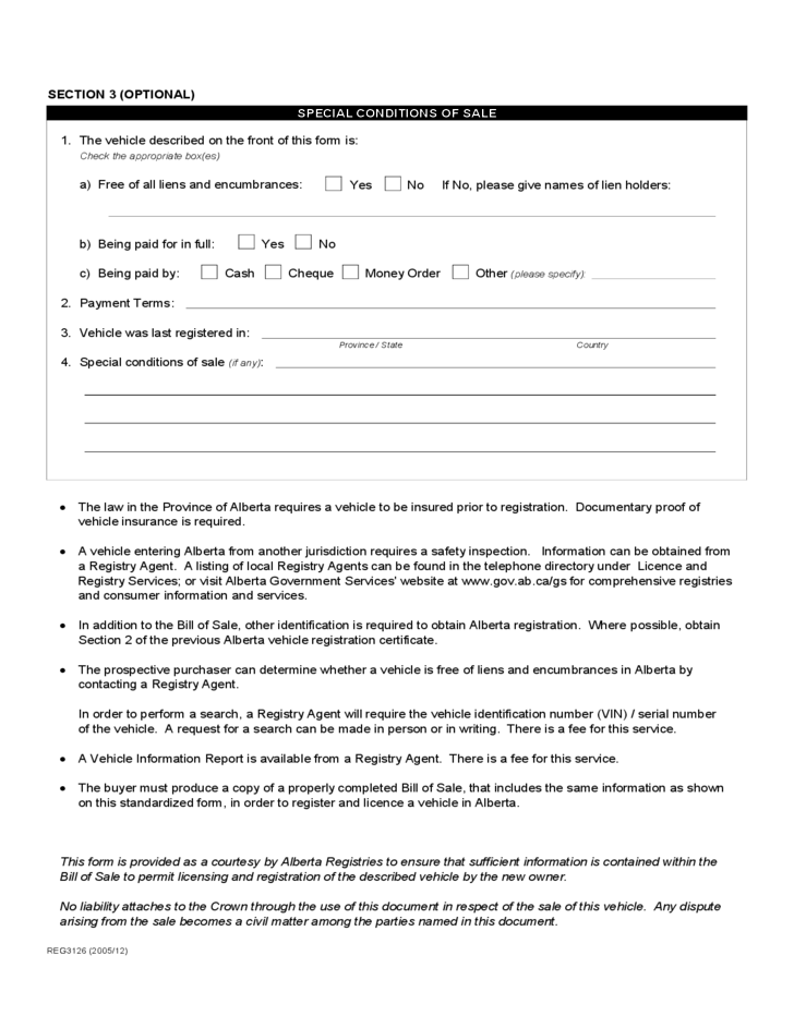 Vehicle Bill Of Sale Form Alberta Province Free Download