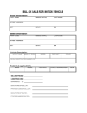Bill of Sale for Motor Vehicle - Tennessee