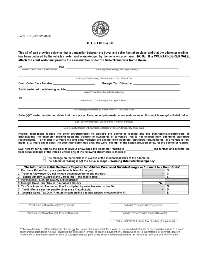 Vehicle Bill of Sale - Georgia Free Download