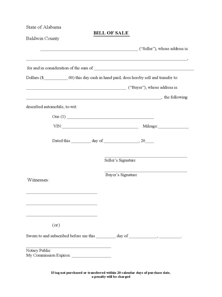 Automobile Bill of Sale Form - Alabama
