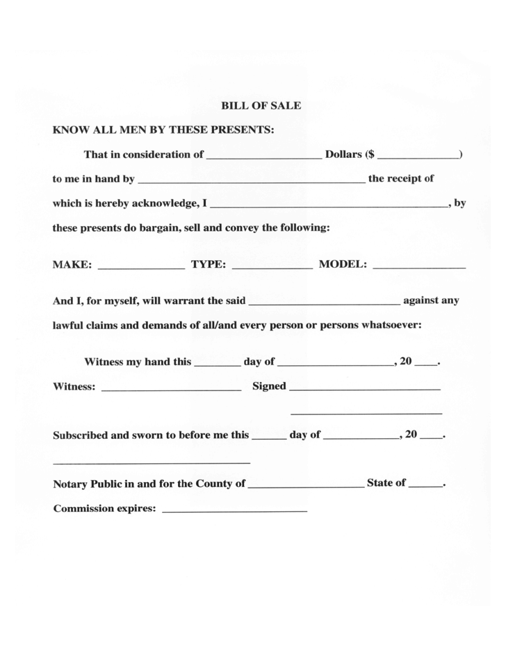 Kansas Vehicle Bill Of Sale >> Vehicle Bill of Sale Form - Mississippi Free Download