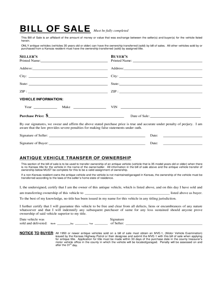 Sample Vehicle Bill of Sale Form - Kansas Free Download