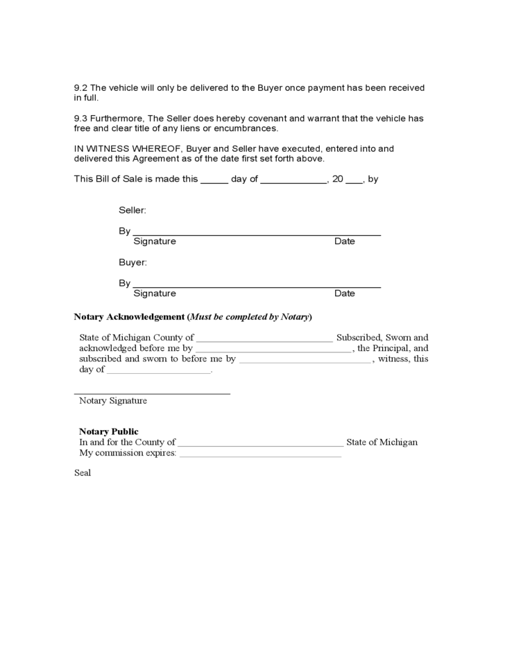 Automobile Bill Of Sale Form Michigan Free Download