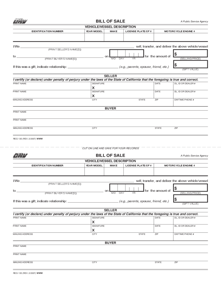 Bill of Sale for Vehicle or Vessel - California