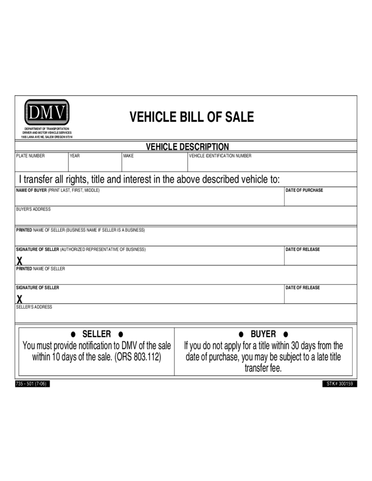 1 Vehicle Bill Of Sale Form   Oregon