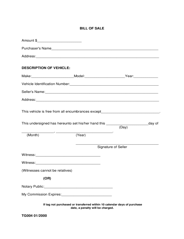 Vehicle Bill of Sale Form - Alabama Free Download