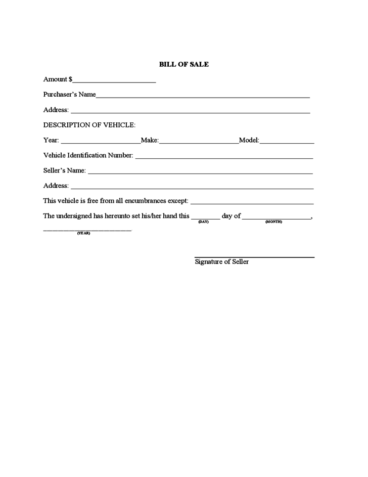Sample Vehicle Bill Of Sale Form Free Download