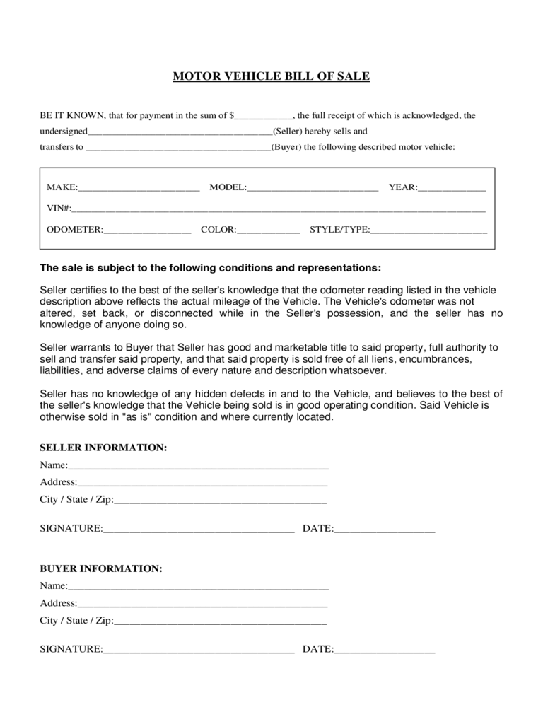 Motor Vehicle Bill of Sale Form - Florida
