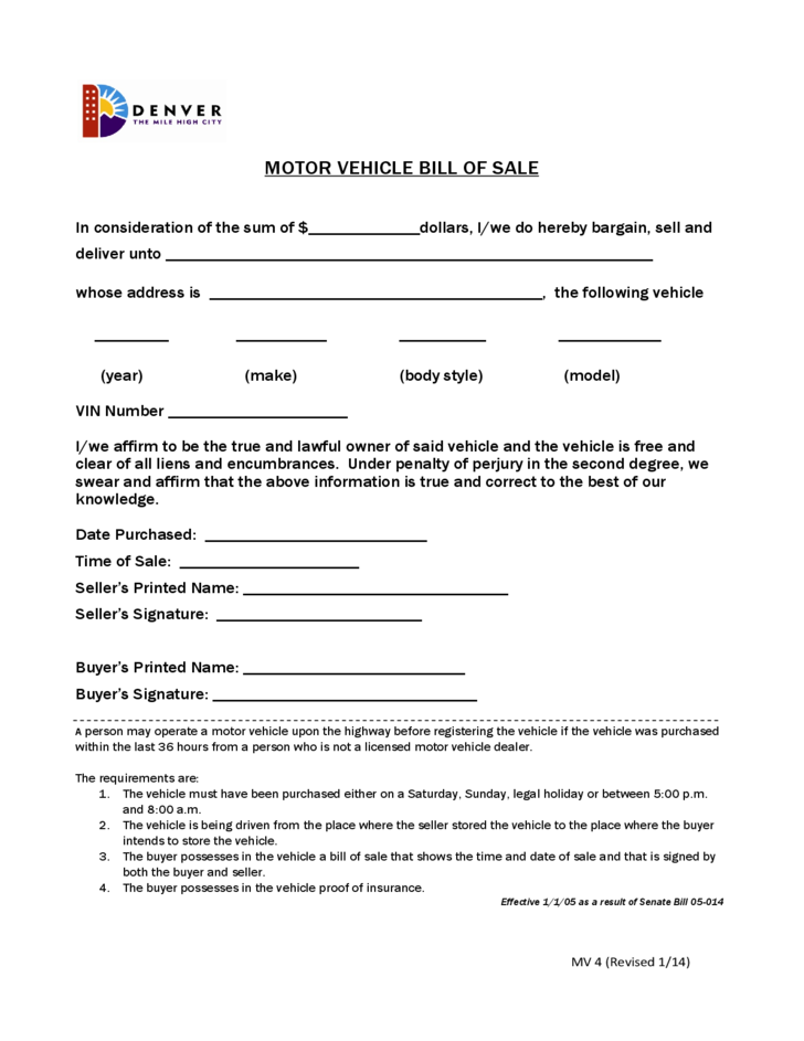 Sample Form For Motor Vehicle Bill Of Sale Colorado Free