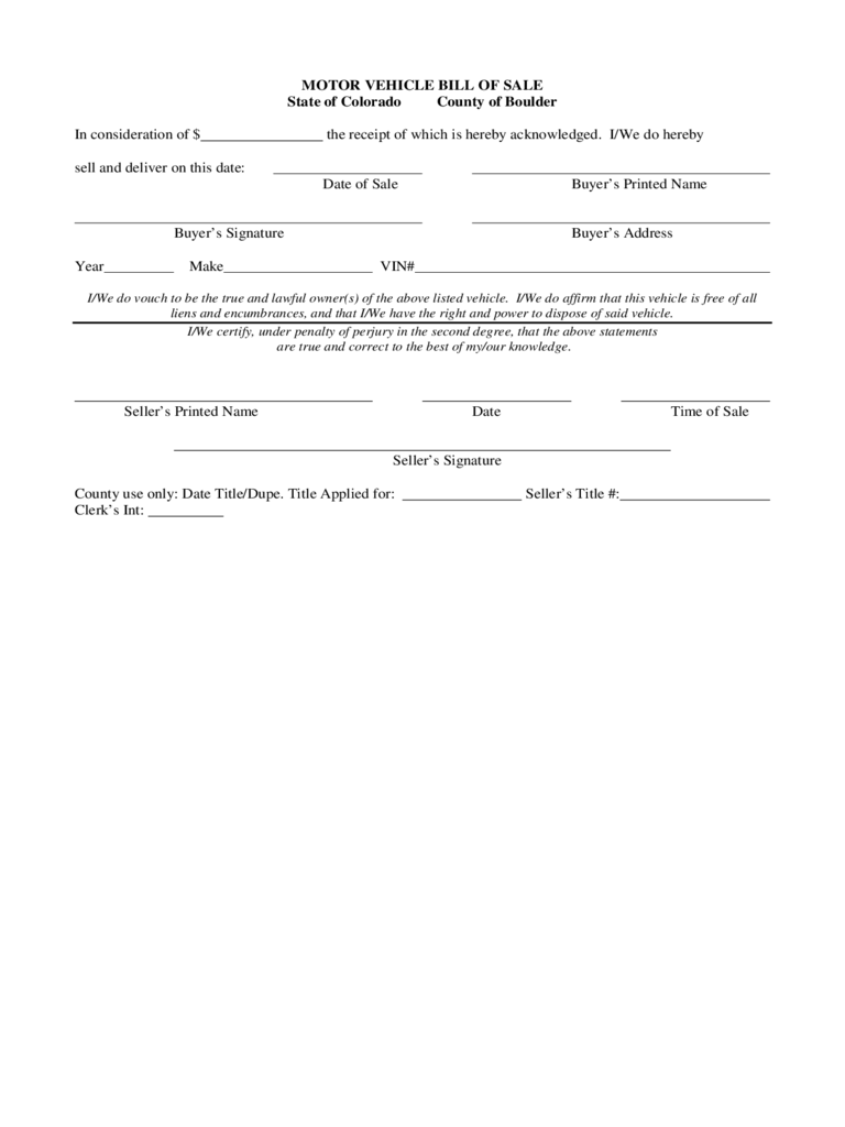 colorado bill of sale form free templates in pdf word excel to print
