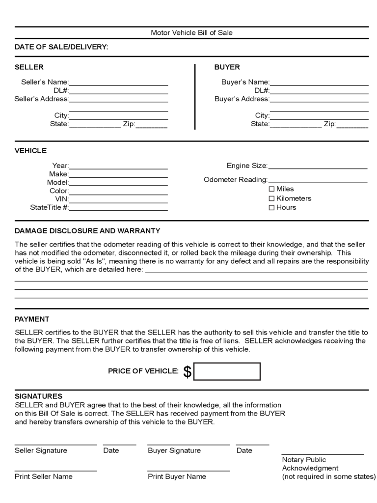 vehicle bill of sale as is template - vehicle bill of sale form 86 free templates in pdf word