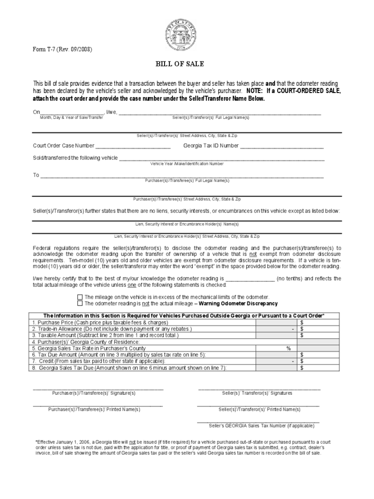 georgia bill of sale form free templates in pdf word excel to print. Black Bedroom Furniture Sets. Home Design Ideas