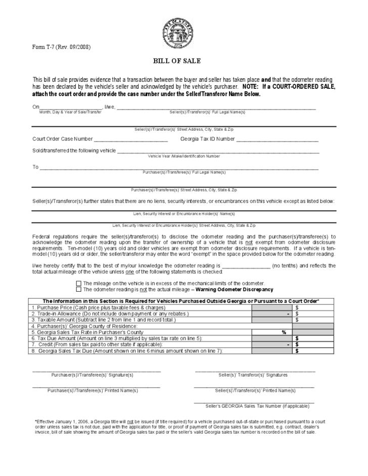 Vehicle Bill of Sale Form - Georgia Free Download
