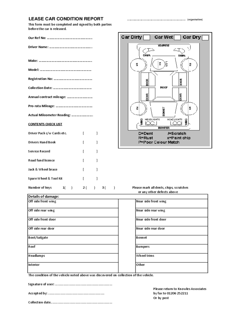 vehicle condition report form