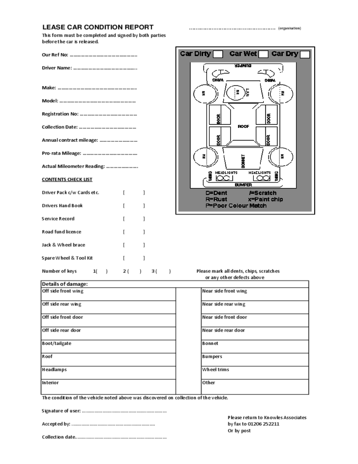 Lease Car Condition Report Form Free Download
