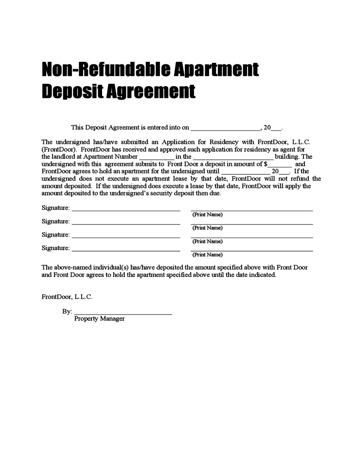 car deposit contract template - non refundable deposit agreement free download