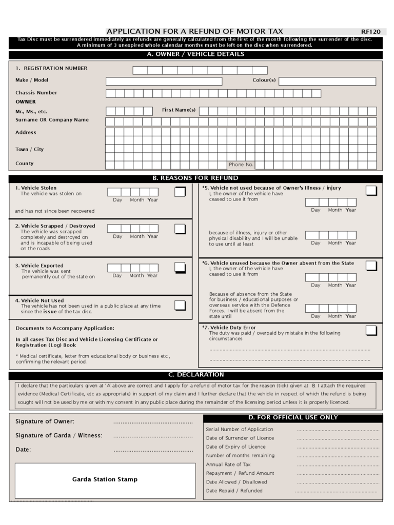 Application for a Refund of Motor Tax