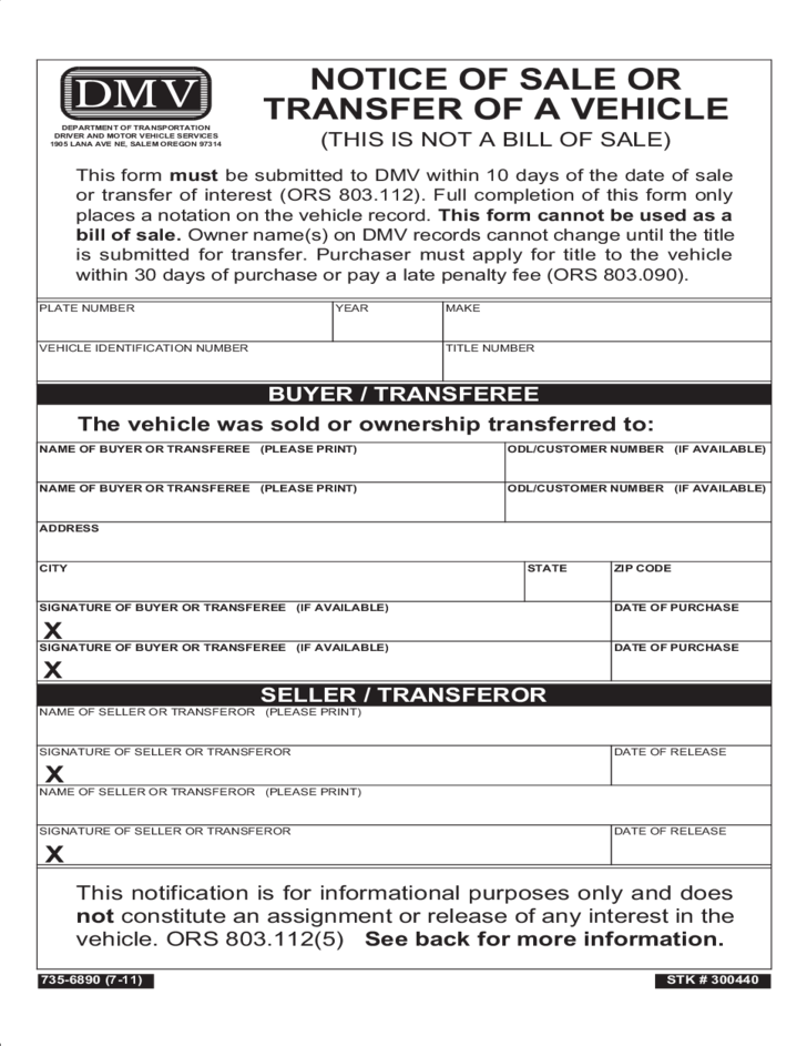 Notice of Sale Or Transfer of A Vehicle - Oregon Free Download