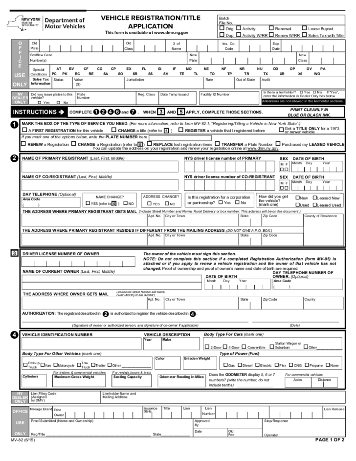 Ny Dmv Registration Form >> Vehicle Registration Title Application New York Free Download